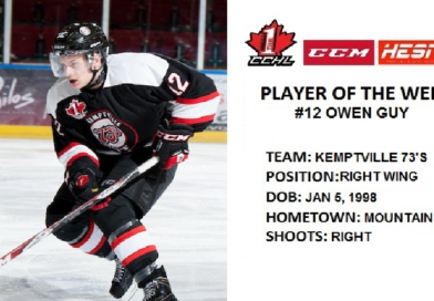 73's Owen Guy Named CCM/HESN CCHL Player of the Week