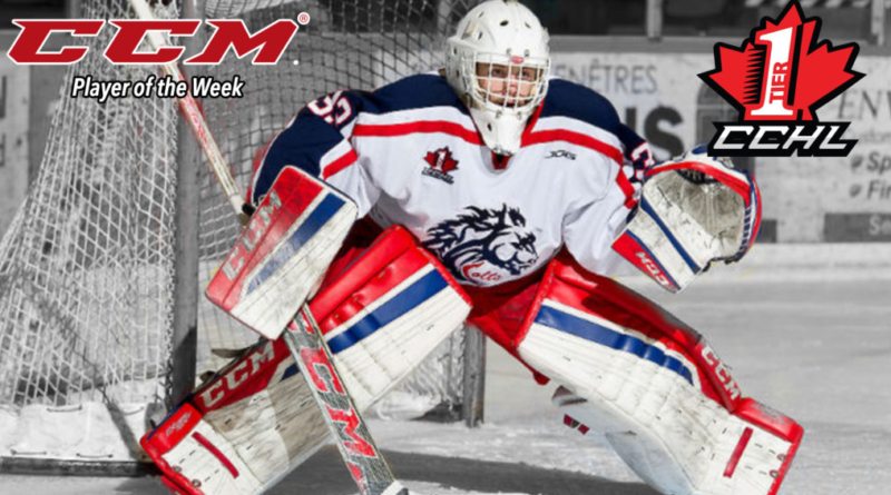 Colt Netminder Lascelle Named CCHL Player of the Week